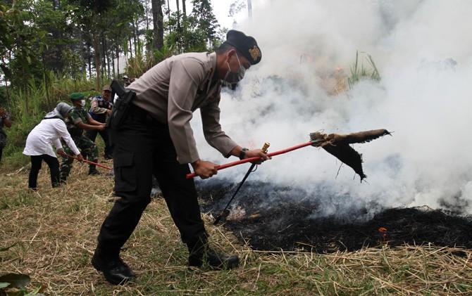 Kapolres Mojokerto AKBP Leonardus Simarmata mematikan api pada simulasi karhutla di Pacet, Mojokerto.