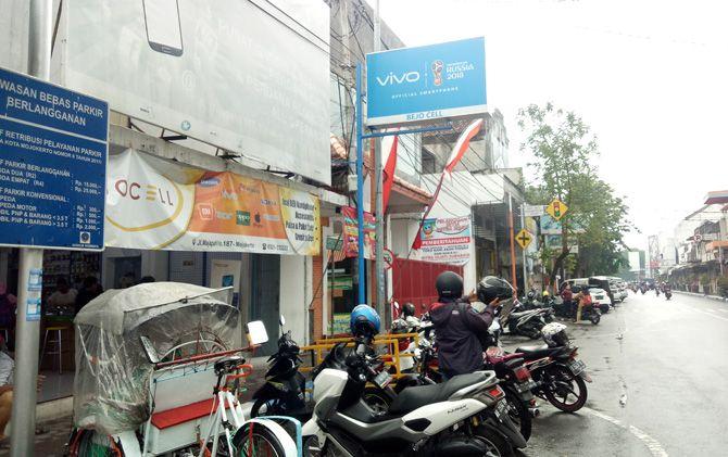 Konter HP Bejo Cell di Jalan Majapahit Kota Mojokerto yang menjadi sasaran pencurian.