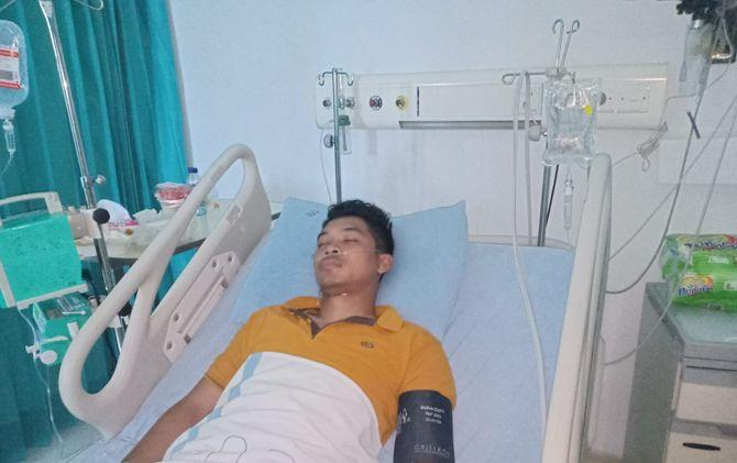 Briptu Anggara menjalani perawatan intensif di RSUD dr Wahidin Sudiro Husodo, Kota Mojokerto.