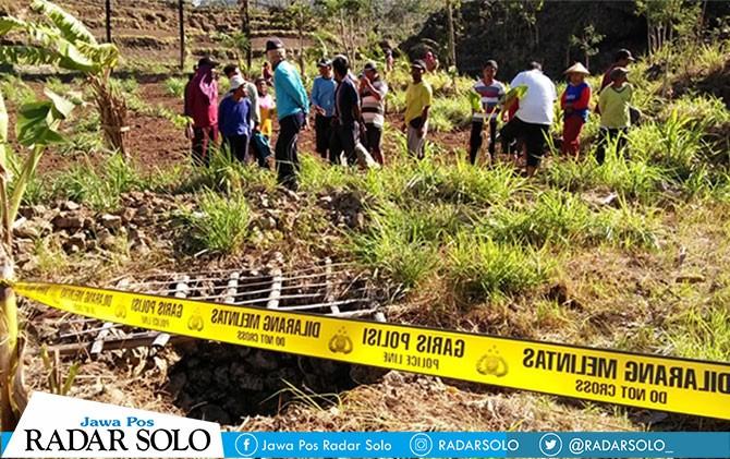 Lokasi penemuan mayat di luweng Dusun Bakalan, Desa Gambirmanis, Kecamatan Pracimantoro.
