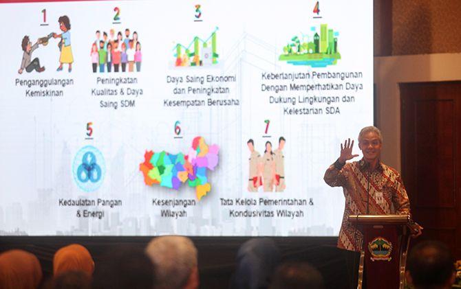 Gubernur Jawa Tengah Ganjar Pranowo saat memberi paparan di forum Pembukaan Masa Musrembang dan Konsultasi Publik Rancangan Awal RKPD Provinsi Jawa Tengah.