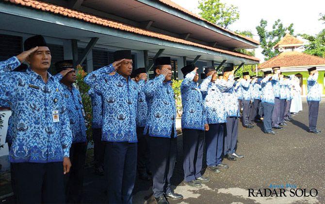 DISIPLIN: ASN Dishub Wonogiri menggelar upacara bendera setiap tanggal 17.
