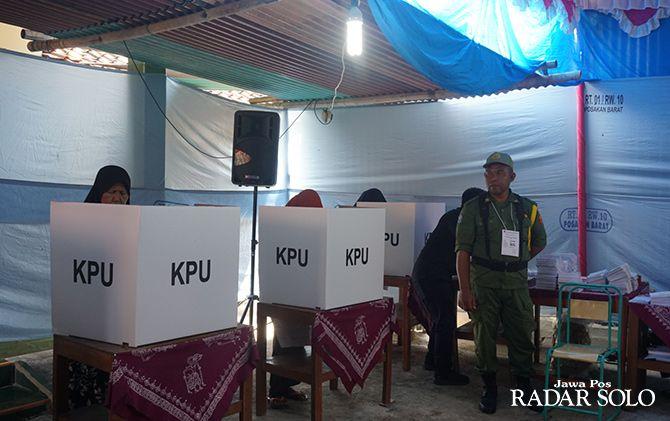 KONDUSIF: Pelaksanaan pemilu serentak di Desa Posakan, Kecamatan Cawas, Klaten pada 17 April lalu