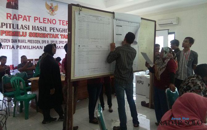Rekapitulasi hasil penghitungan suara di salah satu kecamatan di Sragen