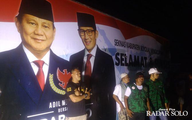 Pendukung paslon nomor urut 02 Prabowo-Sandi menggelar tasyakuran di Boyolali