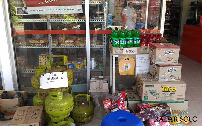 KOSONG: Sebuah toko pengecer di Kabupaten Boyolali kehabisan stok gas melon.