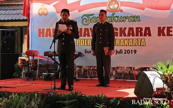 WEJANGAN: Kapolresta Surakarta Kombes Pol Ribut Hari Wibowo beri sambutan.