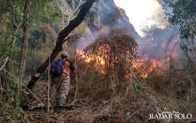 SULIT PADAM: Pemadaman api di hutan negara Gemawang, Ngadirojo.