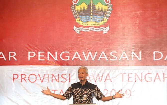 Ganjar Pranowo menghadiri acara Gelar Pengawasan Daerah Provinsi Jateng di Hotel Best Western Sukoharjo, Rabu (9/10).