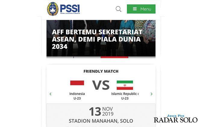 Potongan informasi di website resmi PSSI, terkait uji coba Timnas U-23 melawan Iran U-23 di Solo
