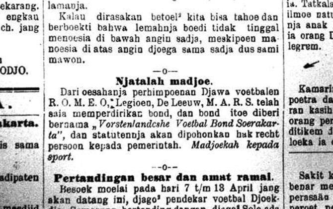 Perpusnas Jakarta tersimpan file koran Darmo Kondo terbitan 31 Maret 1923 yang berisikan klub Romeo, Legion, De Leeuw dan Mars mendirikan VVB (nama awal Persis)