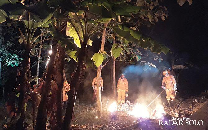 ANTISIPASI: Petugas damkar Satpol PP Wonogiri memusnahkan sarang tawon yang meresahkan warga Kaliancar, Selogiri.