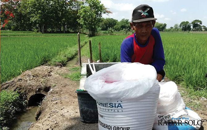BELI NON SUBSIDI: Salah seorang petani di Tanon menunjukkan pupuk yang dia beli.