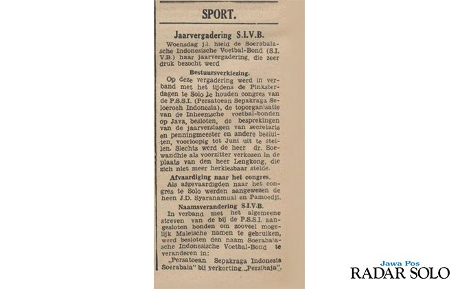 SAKSI SEJARAH: Potongan koran De Indische Courant terbitan 21 Mei 1938, yang mencatat terkait perubahan nama SIVB menjadi Persibaja.