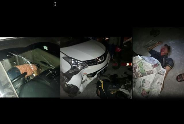 SHOCK: Sang penabrak Ni Made Titin Indrayanti di dalam mobil Toyota Avanza dengan nopol N 926 YK. TERGELETAK: Rudi Normansyah terkapar dengan luka par
