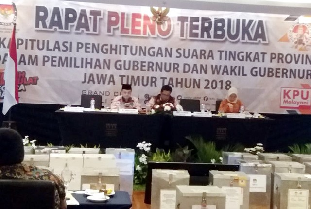 Calon Gubernur Terpilih: KPU Jatim menggelar Rapat Pleno Terbuka, rekapitulasi penghitungan suara tingkat provinsi dalam Pimilihan Gubernur dan Wakil