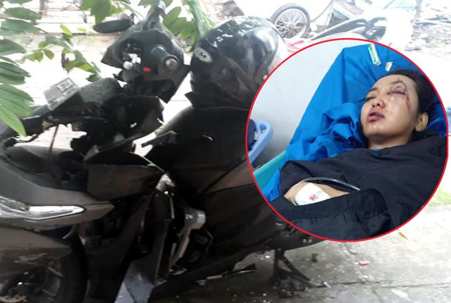Kritis : Kondisi korban jambert Julfitriani yang dirawat di Rs Mitra Keluarga, Kenjeran. Kendaraan roda dua yang dikendarai korban (inset).