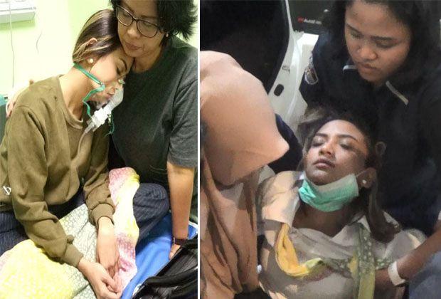 DITAHAN MASUK RS: Kondisi Vanessa Angel saat pingsan dan akhirnya dilarikan ke RS Bhayangkara Polda Jatim.