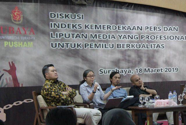 Pusat Hak Asasi Manusia Universitas Surabaya (Pusham Ubaya) kembali terlibat dalam melakukan survei Indeks Kemerdekaan Pers (IKP) di Jawa Timur.
