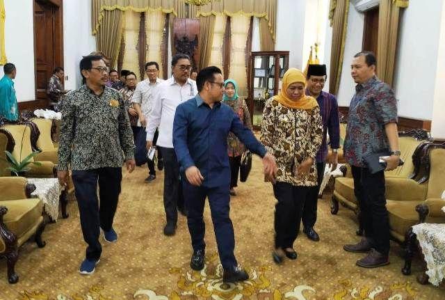 SILATURAHMI: Ketua Umum Partai Kebangkitan Bangsa (PKB) Muhaimin Iskandar bersama Gubernur Jatim Khofifah Indar Parawansa, di Gedung Negara Grahadi, J