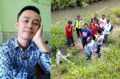 KORBAN: Budi Hartanto semasa hidup dan penemuan jenazahnya dalam koper di bawa jembatan Desa Karanggondang, Udanawu, Blitar.