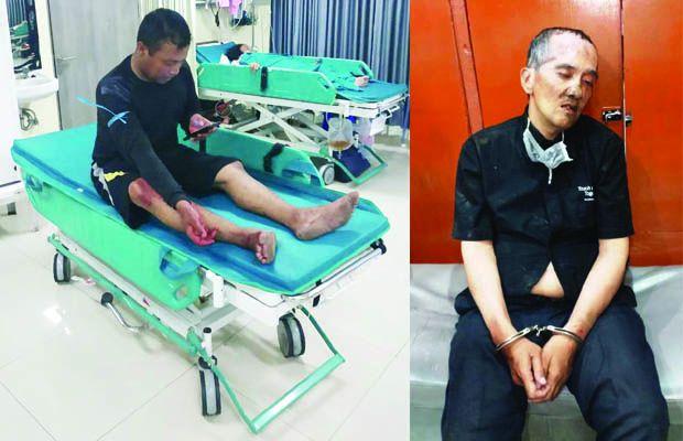 EMOSIONAL: Korban Oki Firman Sriyanto dirawat di rumah sakit karena ditusuk Muji Harian (kanan).