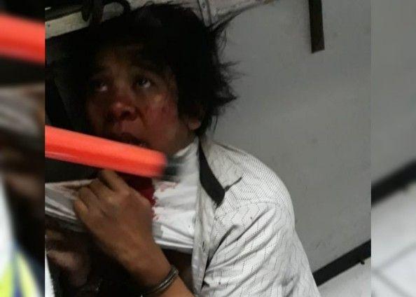 KAMU KETAHUAN: Pelaku Parji minta saat diamankan di pos satpam sebelum diserahkan ke polisi.