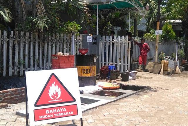 Berbahaya: Tandon bawah tanah yang dibangun di dekat titik semburan Kutisari sudah terpasang.