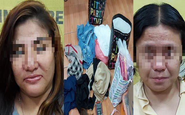 TEREKAM CCTV: Tersangka Nisa dan Yayuk dengan barang bukti baju-baju gamis yang dicurinya dari beberapa toko di mal.