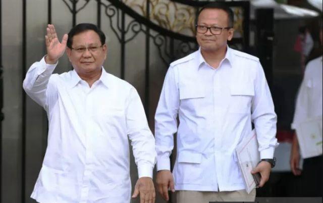KOMPAK: Ketum Partai Gerindra Prabowo Subianto dan Wakil Ketum Edhy Prabowo usai bertemu Presiden Jokowi.