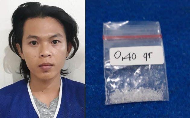 APES: Tersangka Achmad Nofan Indrawan dan barang bukti sabu-sabu (SS).
