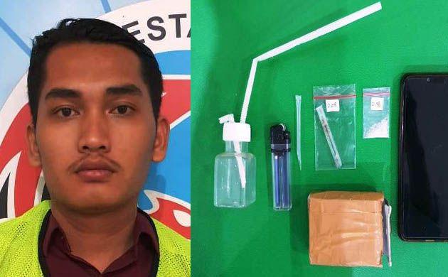 TERTANGKAP: Tersangka Vikry dan barang bukti yang diamankan polisi.