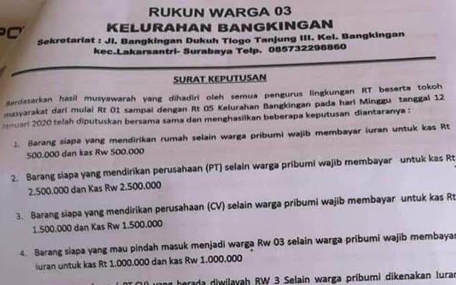 VIRAL: Surat edaran RW 03 Kelurahan Bangkingan yang bikin heboh di medsos.
