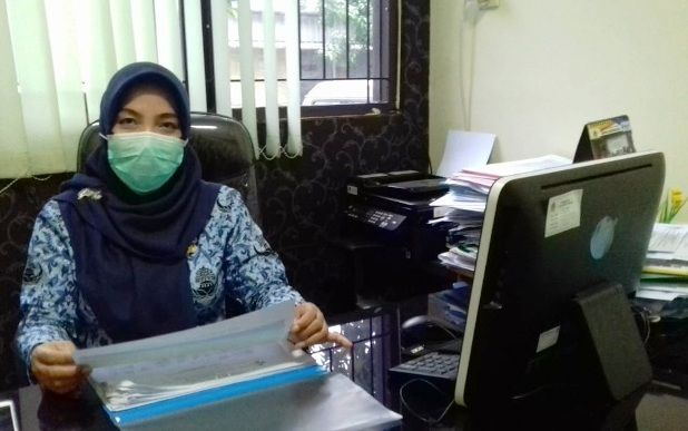 TURUN: Kepala Bidang Pelayanan Kesehatan Dinkes Gresik, Ummi Khoiroh, menjelaskan perkembangan pasien DB di Gresik.