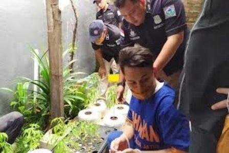 KETAHUAN: Aldian Aldiano yang menanam ganja hidroponik di rumahnya di Wisma Lidah Kulon.
