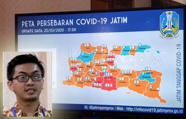 WASPADA: dr Makhyan Jibril Al Farabi (insert) menunjukkan peta persebaran covid 19 di Jatim.