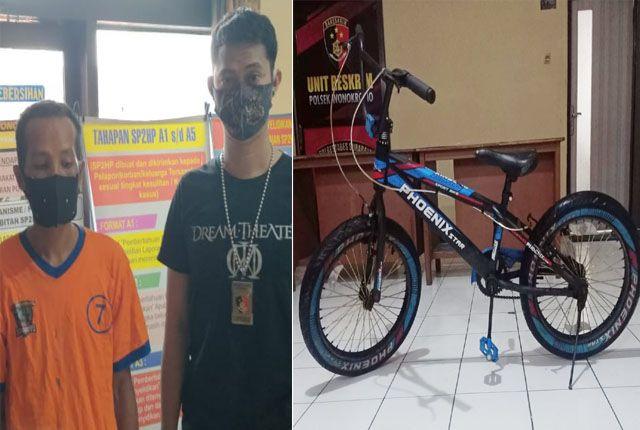 TAK BERKUTIK: Tonir diamankan di Polsek Wonokromo bersama barang bukti sepeda angin.