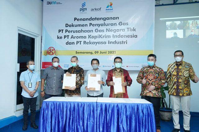 PGN dan PT Aroma Kopi Tanda Tangani Perikatan Penyaluran Gas