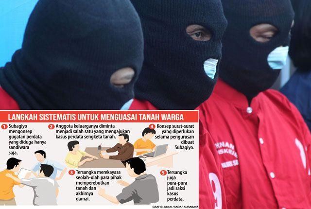 KOMPAK: Tersangka Djerman, Subagiyo, dan Samsul Hadi diamankan di Polrestabes Surabaya dengan modus operandinya.