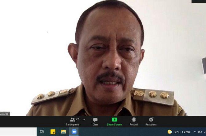 Wawali Surabaya Armuji saat rapat virtual bersama Kemenkes RI.