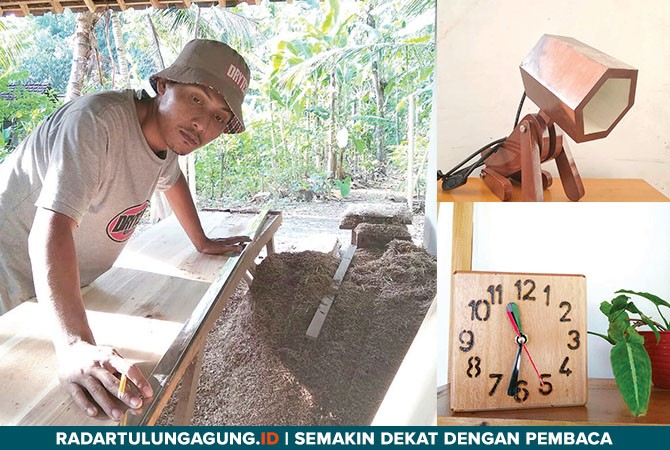 KREATIF: Ahmad Toyibin beraktivitas membuat kerajinan tangan.
