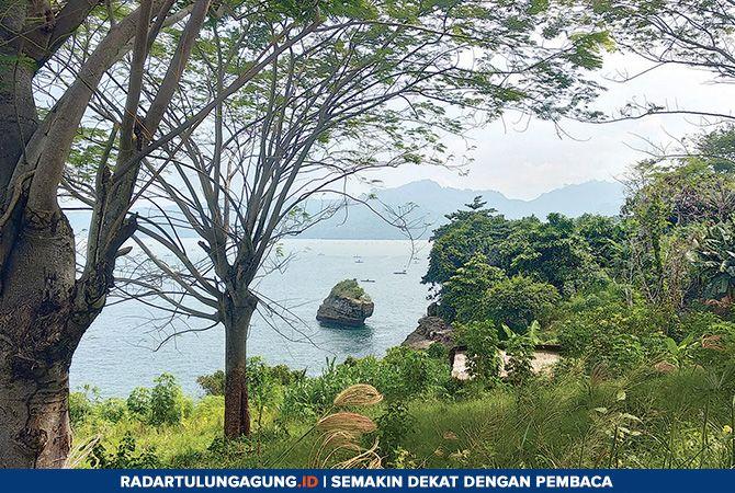 TKP: Lokasi jatuhnya  kedua orang pemancing  di tebing Pantai coro di dusun Popoh, desa Besole,  Kecamatan Besuki.