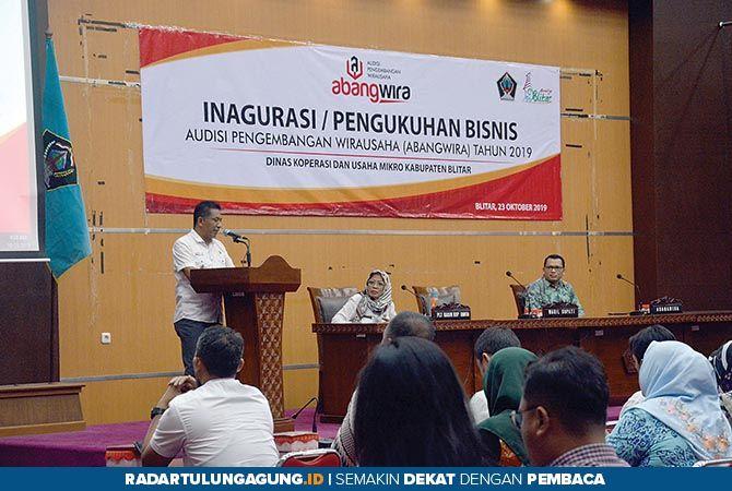 INOVATIF: Wabup Blitar Marhaenis Urip Widodo memberikan sambutan dalam rangkaian audisi Abangwira.