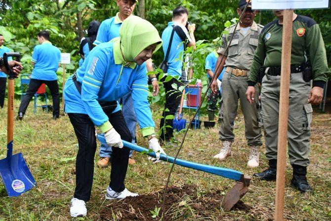 JAGA EKOSISTEM: Ketua Tim Penggerak PKK Ny. Siyuk Maryoto Birowo mencangkul tanah untuk menanam pohon. Ini dilakukan sebagai wujud lestarikan alam.