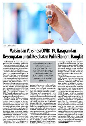 Vaksin dan Vaksinasi COVID-19, Harapan Kesempatan untuk Kesehatan Pulih Ekonomi Bangkit