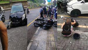 Empat Kendaraan Tabrakan Karambol di Ubud, Dua Pemotor Patah Tulang