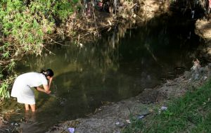 Kekeringan Meluas, Warga Andalkan Air Kubangan untuk Mencuci dan Mandi