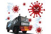 Gunakan Water Canon, Polres pati Semburkan 6.000 Liter Disinfektan