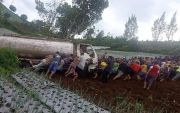 Truk Tangki Terperosok ke Kebun Warga di Cetho, Sopir Luka-Luka