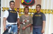 Tepergok Korban, Maling Motor Dikejar Warga, Jatuh Ditangkap Polisi